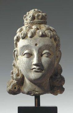 A Gray Schist Head of Siddhartha GANDHARA, 2ND/3RD CENTURY