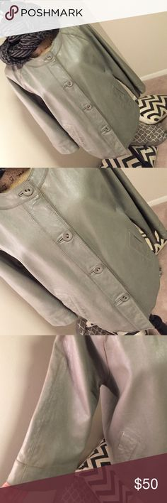 Transitional Grey Leather🐦🐦🐦 Smart grey Leather Jacket. Can be worn for outerwear or light enough to accent any outfit. Raglan 3/4 sleeve and a slight swing to the body... Gently worn... Wish I could keep j.jill Jackets & Coats Blazers
