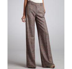 b1faedf66e8dca Céline | Brown and Orange Glen Plaid Stretch Wool Wide Leg Pants | Lyst