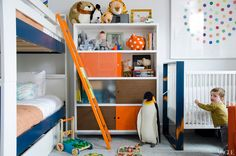 idea for bunk beds with underneath storage (would hide it with bedskirt)...no baby crib though