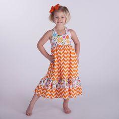Orange Chevron Bright Flower Halter Maxi Dress