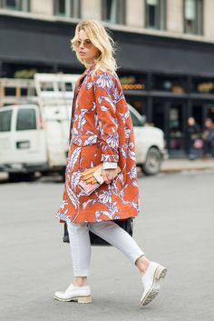 Orange floral coat | For more style inspiration visit 40plusstyle.com