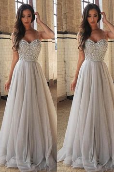 Sweetheart Prom Dresses, Princess A-Line Spaghetti Straps Floor-Length Beading Prom Dress/Wedding Dresses #promdresses #weddingdresses #eveningdresses #beading