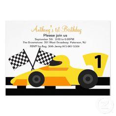 Yellow Race Car  Boys First Birthday Invitation