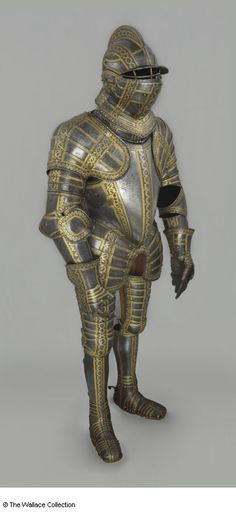 Full Armour Armour of Sir Thomas Sackville, Lord Buckhurst Royal Workshop, Greenwich Jacob Halder (died 1608) Greenwich, England c. 1587 - 1589 Steel, leather, gold and copper alloy Weight: 32.03 kg Weight: 36.7 kg, with the plackart A62 European Armoury II