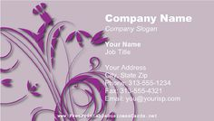 This business has a modern purple swirly floral pattern on a lavender background. Free to download and print