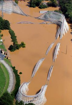 Rollercoaster swallowed by floods, New Orleans East...Katrina's work