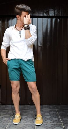 Green Short White Shirt