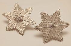 """Starlet"" Snowflake Sterling Silver Earrings with Diamonds #earrings #AmericanCharm #snowflake #diamonds"