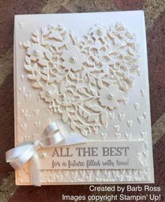 handmade wedding card ... white on white ... die cut lacy heart, embossing folder little hearts, ad silky ribbon ... like the silver/gray for the sentiment ...
