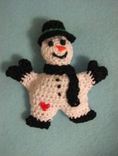 Free Snowman Pin Crochet Pattern | Crochet Pattern | FREE | YouCanMakeThis.com