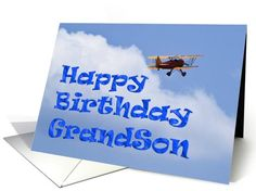 Bi-Plane Birthday Grandson | General | Greeting Card Universe