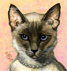 Balinese Cat Original Oil Painting - Jody A.Lee 2009♥🌸♥