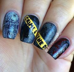 Caution Tape Crime Scene Nails. Cool Halloween Nail Art which show off your spooky spirit during the freakish festivities. http://hative.com/cool-halloween-nail-art-ideas/