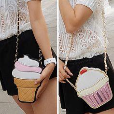 Bonito Forma Mulheres dos desenhos animados Ice Cream / Cupcake Mini cadeia ombro saco de Metal