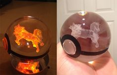 This crystal Poke Ball holds a 3D etched Arcanine inside that glows fiery red with the LED light base