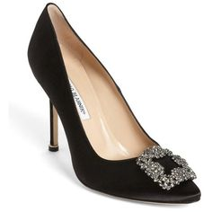 """Manolo Blahnik 'Hangisi' Jeweled Pump, 4"""" heel (13 250 ZAR) ❤ liked on Polyvore featuring shoes, pumps, black, black pointed-toe pumps, pointy toe high heel pumps, kohl shoes, pointy toe shoes and jeweled shoes"""