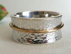 Silver & 14 Karat Gold Meditation Ring by ModernistaJewelry, $265.00