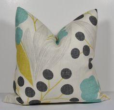 KRAVET Floral Turquoise Aqua pillow - Decorative pillow cover -Teal Charcoal Grey Light Grey Turquoise  Sunshine Yellow Throw Pillow