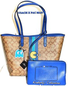 COACH X PAC MAN LTD Signature Stripe Reverse Tote Bag, Makeup Pouch & Key Chain!  | eBay