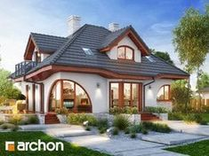 I really like the curb appeal. I like the flow of the house. Projekt domu Dom w zefirantach 4 - ARCHON+ Village House Design, Kerala House Design, Unique House Design, House Front Design, Tiny House Exterior, House Paint Exterior, House Plans Mansion, Modern Bungalow House, Beautiful House Plans