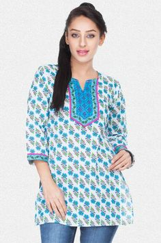 Buy Online Shopping Deals Offers In India Classy white kurti with blue floral print. Features a round neck with split v & 3/4th sleeves. Contrast neck yoke & sleeve cuffs enhance stylish look. Branded kurti of mid thigh length. Made from 100% cotton material. Revivify yourself in hot weather with this trendy piece.