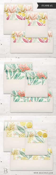 Get ready for some floral envelope liner pretty! Each A7, A2 or #10 envelope liner is digitally printed on the paper of your choice and then hand cut and assembled inside each envelope. No messy glue strips or at home assembly needed – all the work will be done for you!