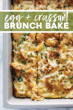 The BEST Croissant Brunch Bake! Cheese, brown sugar ham, caramelized onions, and spinach baked into creamy eggs and topped with a crispy golden croissant topping. YUM. #croissants #brunch #casserole | pinchofyum.com