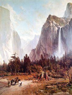Thomas Hill Indians at Campfire Yosemite Valley Giclee Canvas Print Poster