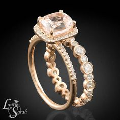 Morganite+colored+Sapphire+Engagement+Ring+by+LaurieSarahDesigns,+$6216.21