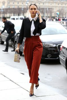 The stars took to the streets in full force this Paris Fashion Week, sporting an array of new season cuts and colours. Actress Jessica Alba opted for a structured red culotte paired with an embellished collar shirt and open cardigan to complete her look. Steal her style with the cropped trouser shape, paired with a high neck top or a touch of white lace. Read more on our blog. #newlook