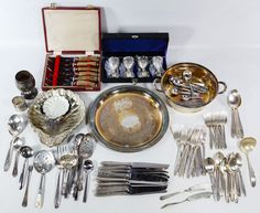 Lot 132: Silverplate Hollowware and Flatware Assortment; Including a set of (4) Japanese wine goblets in box, a set of (6) Gee & Holmes stag handled steak knives in box as well as flatware and hollowware examples from Community Plate, Wm Rogers and St. Louis Silver Co