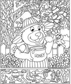 Bear with honey Hidden Picture Games, Hidden Picture Puzzles, Animal Coloring Pages, Coloring Sheets, Coloring Books, Colouring, Hidden Object Puzzles, Hidden Objects, Hidden Pictures Printables