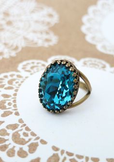 Indicolite Blue Crystal Cocktail Ring, Brass Adjustable Ring Swarovski Crystal Oval Stone Cocktail Ring Vintage Statement Ring
