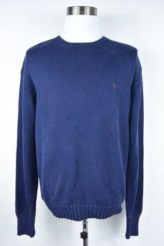 Polo Ralph Lauren L Large Cotton Blue Knit Crewneck Thick Sweater Mens #147 #PoloRalphLauren #Crewneck