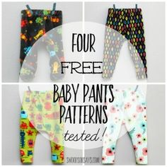 4 Free Baby Pants Sewing Patterns - free sewing tutorial for free baby leggings, baby harem pants, cloth diaper friendly baby pants, and footed baby pants! Perfect gift to sew for a baby shower! Hat Patterns To Sew, Baby Clothes Patterns, Sewing Patterns For Kids, Sewing For Kids, Baby Patterns, Free Sewing, Baby Sewing Projects, Sewing Tutorials, Sewing Tips