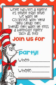 FREE Cat in the Hat Printable Invitation