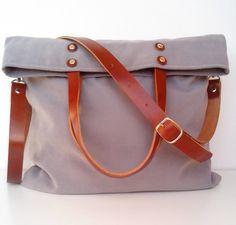 Gray Messenger Bag / Shoulder Strap  Leather / Tote by 13sferas
