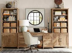 Need home office inspiration? Shop Pottery Barn for stylish home office furniture and decor. Create an stylish and functional home office with quality furniture and decor. Pottery Barn Office, Pottery Barn Bedrooms, Pottery Barn Style, Pottery Barn Fall, Home Office Desks, Home Office Furniture, Furniture Decor, Office Decor, Office Ideas