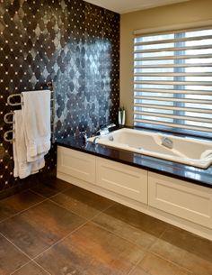 Master Bath- heated towel rack; beautiful tile detail; jetted tub