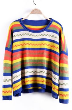 Blue and Yellow Chevron Contrast Stripes Oversized Sweater