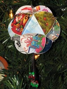 How to make Christmas Ornaments our of old Christmas Cards