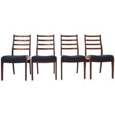 British G Plan Set of Four Teak & Blue Wool Dining Chairs Midcentury Chair 1960s