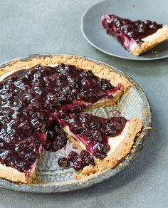 This pie is a three-layer treat: graham crust, cheesecake-like custard and blueberry topping.