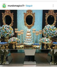 Cinderella Quinceanera Themes, Quinceanera Cakes, Quinceanera Decorations, Birthday Decorations, Sweet 16 Birthday, Birthday Parties, Cinderella Invitations, Blue Wedding Centerpieces, Beauty And Beast Wedding