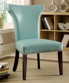 Look what I found on #zulily! Turquoise Leatherette Dining Chair - Set of Two by Serendipity #zulilyfinds