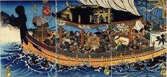 Yoshitsune, Ise-no-Saburo and retainers on ship