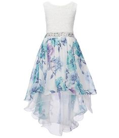 Xtraordinary Big Girls Watercolor Floral Print High-Low Dress From Xtraordinary, this dress features:round necklinesleevelessglitter lace bodiceembellishment at waistwatercolor floral print high-low skirtzipper back closurepolyesterhand washimported Pretty Prom Dresses, Dresses To Wear To A Wedding, Ball Dresses, Pretty Outfits, Cute Dresses, Beautiful Dresses, Casual Dresses, Short Dresses, Girls Dresses