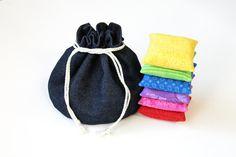 Denim & Black Flannel Bucket Bag with Rainbow by HandiworkinGirls