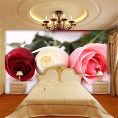 Barato Grande romântico vintage rose floral papel de parede mural papel de parede 3d para sala da parede natural rolos de parede papéis de parede decoração casa arte, Compro Qualidade Papéis de parede diretamente de fornecedores da China: